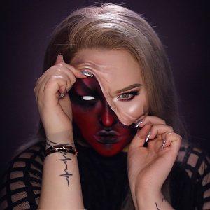 DEMON - Pulled Up Skin Halloween Makeup Tutorial - NIKKIE TUTORIAL