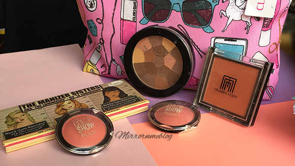 MUA Makeup Academy (Mosaic Bronzer) Musarrat Misbah (Satin Apricot) Color Show (Fresh Coral and Peachy Sweetie) The Balm (The Manizer Sister)