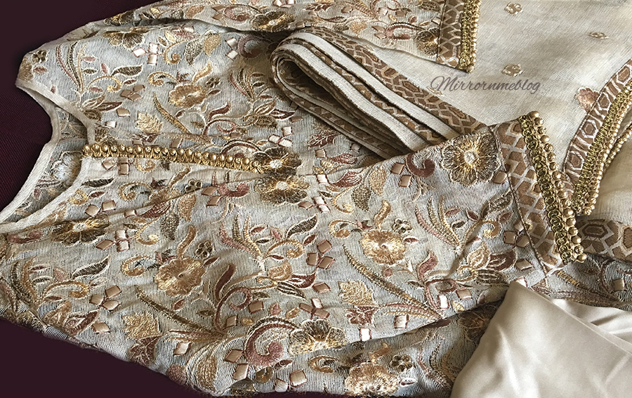 golden embroidered material